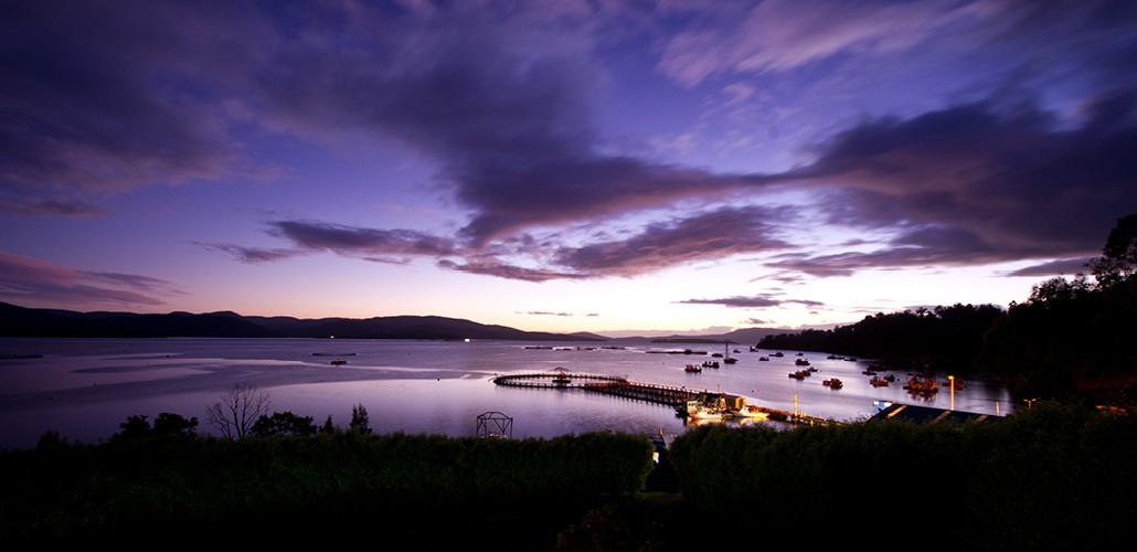 Hideaway Bay, Tasmania - home to Huon Salmon's vast 15,000 tonne aquaculture project