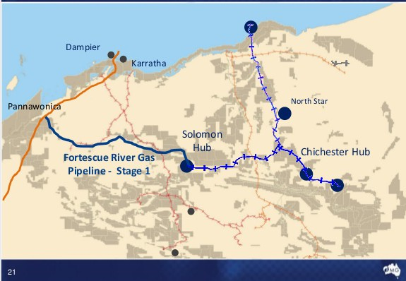 Map of FMGs WA operations and the Fortescue River Pipeline connecting the DBP with Solomon.